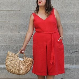 Gap Red Tencel Culotte Jumpsuit